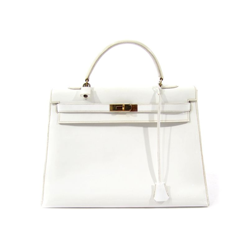 Hermès patent white Kelly bag from 1960s