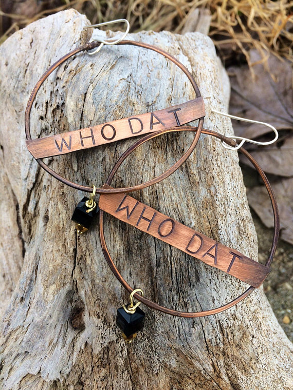 Who Dat Hand Stamped Earrings Copper Soldered Earrings New Orleans