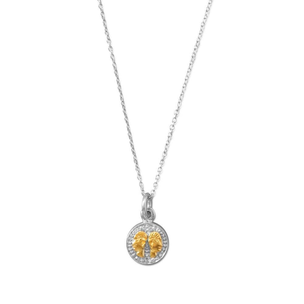 Rhodium plated two tone zodiac necklace gemini products