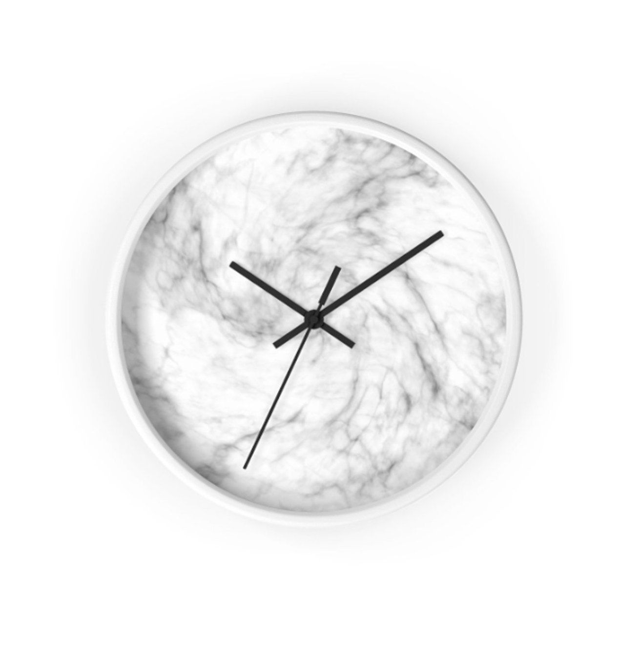 Marble Modern Wall Clock Small Round Clock No Numbers Modern Gray Office Decor Marbleclock Blackframec Small Wall Clock Wall Clock Modern Grey Office Decor