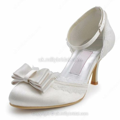 Satin Stiletto Heel Pumps with Bowknot/Lace Wedding Shoes -GBP£31.99