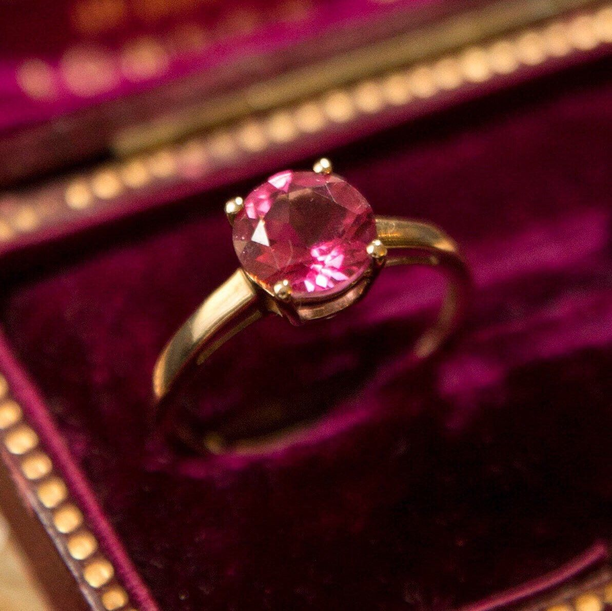 9ct Gold Modern Pink Topaz & Diamond Ring