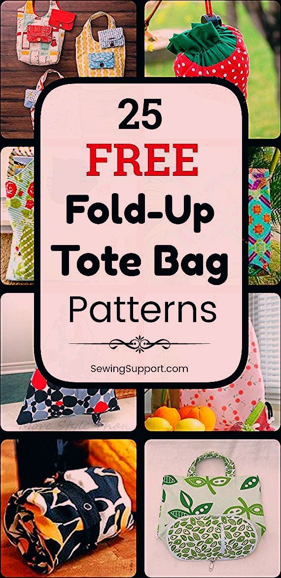 Tote Bag Patterns  Foldup style 25 free foldable foldup tote bag patterns tutorials and diy sewing projects These bags fold away to a small size making it easy to keep an...