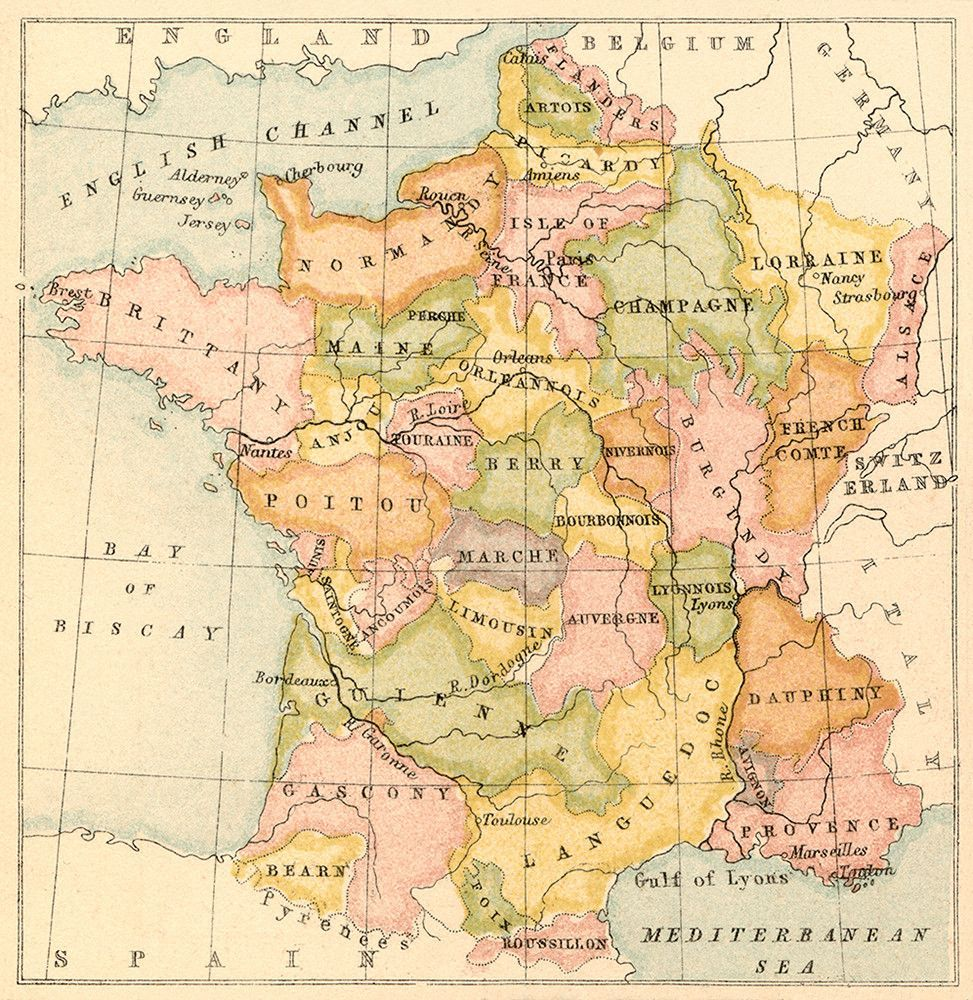 Provincial Map of France 1867 France Alsace and Normandy