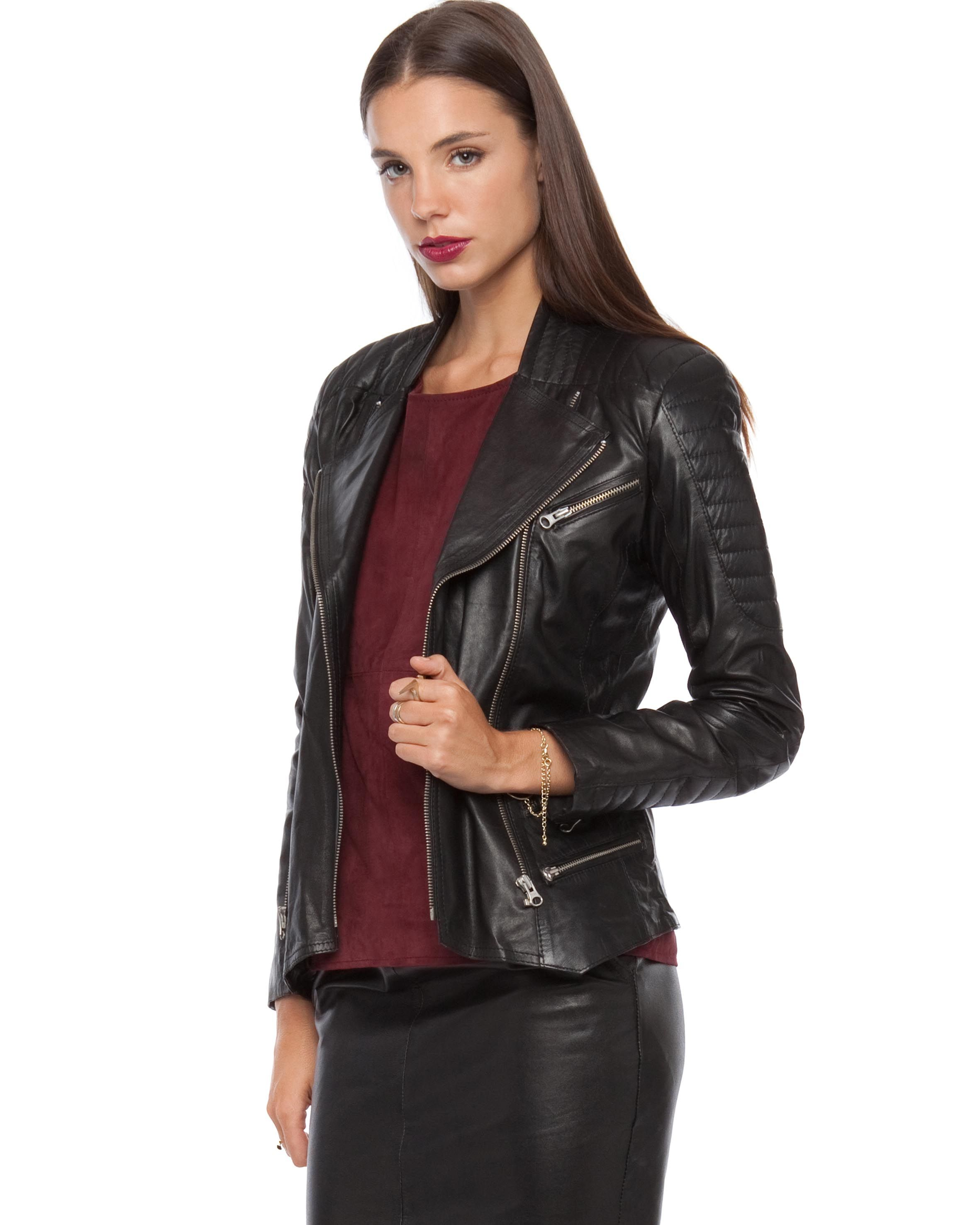 Leather jacket online australia - Leather Biker Jacket With Shoulder Detail By Jennifer Kate Online The Iconic Australia