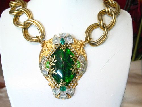 9ed6f3cb8f9 Czech Glass Necklace   Reverse Carved w  Rhinestones. Colleen Abbott  (colleen466) is the original pinner of this pin.
