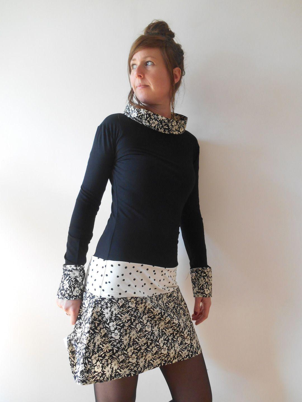 """Robe courte """"Funky"""" manches longues coupe retro trapèze imprimé fleurs T36 : Robe par mesketa ..."""