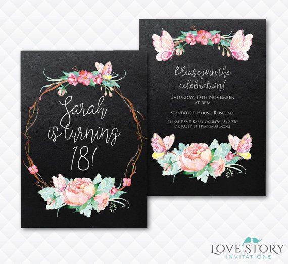 DIY Printable Floral Invitation 18th Birthday Party Butterfly Pretty Chalkboard Invite