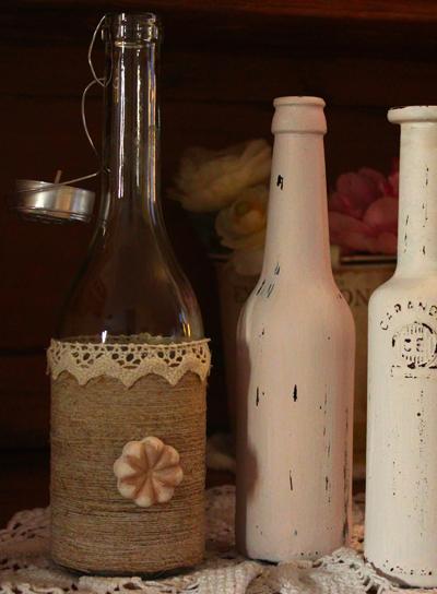 come decorare bottiglie di vetro how to decorate glass bottles riciclo. Black Bedroom Furniture Sets. Home Design Ideas