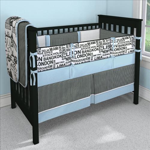World Traveler Blue Custom 4piece Crib Bedding Set