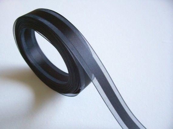 Black Satin Stripe Organza Ribbon 5/8 inch wide by GriffithGardens, $7.00
