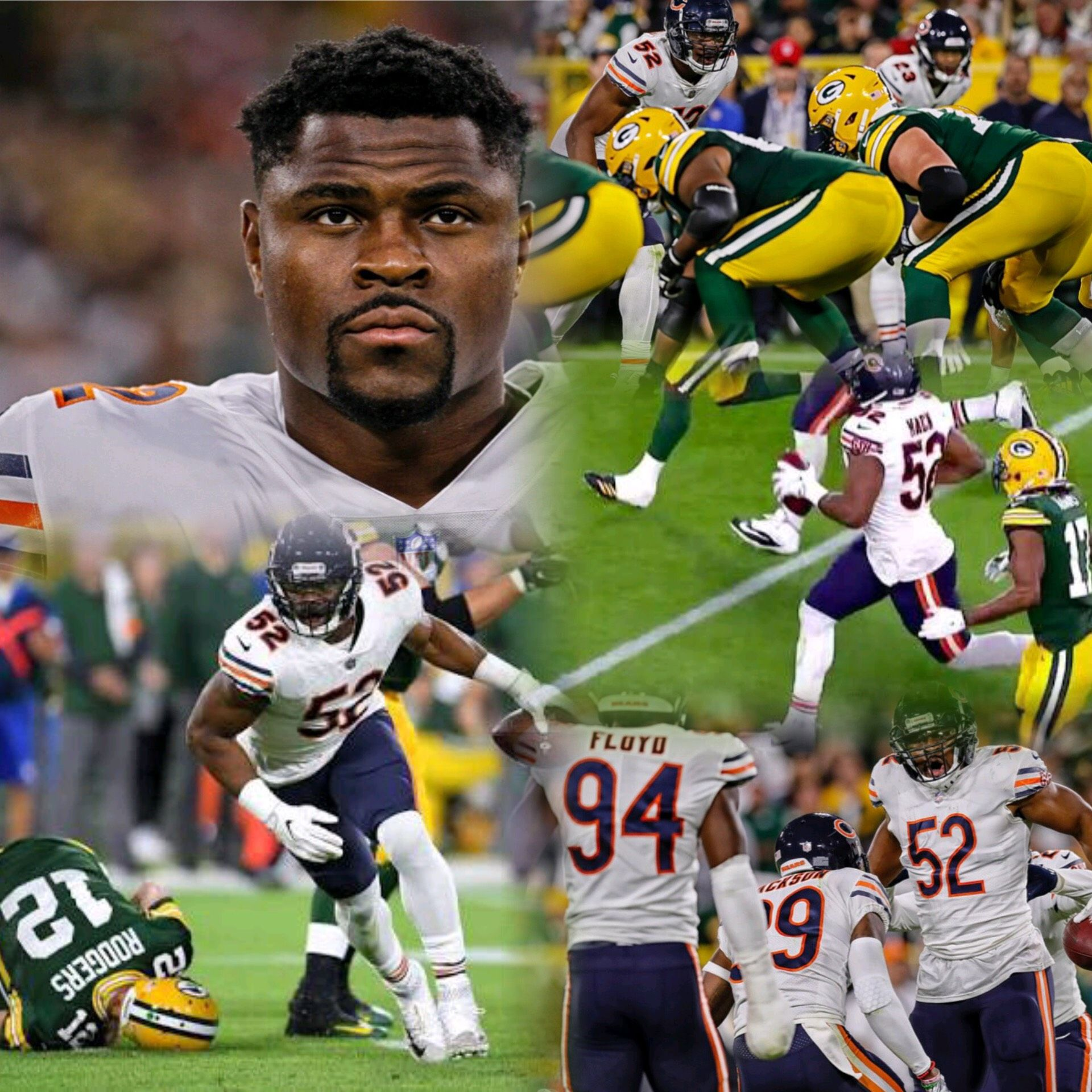 Khalil Mack 52 In The First Game For Chicago Bears Became The First Nfl Player Since Giants Star Lawren Chicago Bears Football Bears Football Chicago Bears