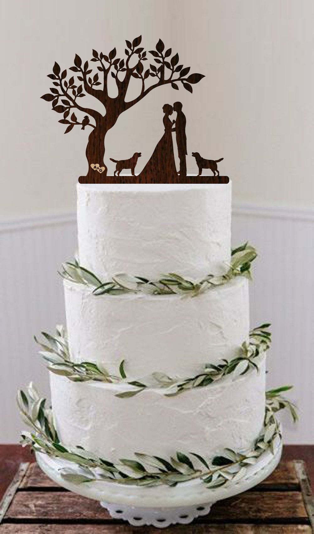 Bride and Groom Couple Silhouette Wedding Cake Topper Mr