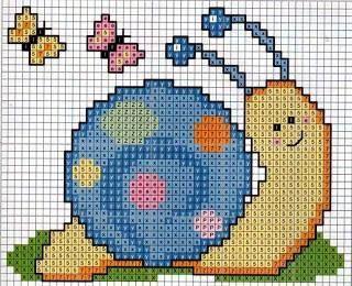 caracoles en punto de cruz   art&craft   Pinterest   Punto De Cruz and Snails