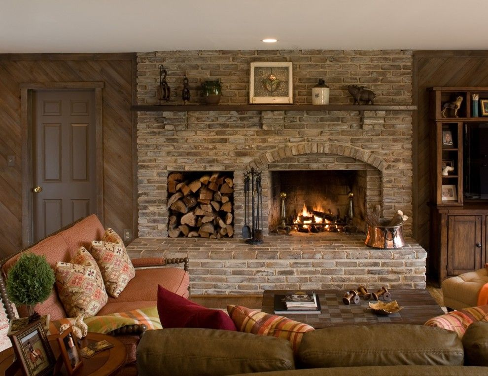Rustic Fireplace Tools Family Room Traditional With Large Hearth
