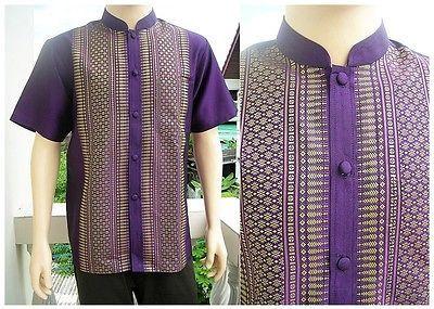 ac86c3d7bcb Mens Traditional Thai Silk Deluxe Purple Mandarin Collar Short Shirt Size -  XXL