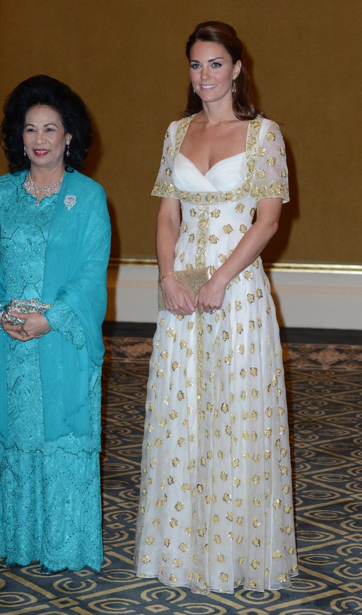 Pin for Later: The 70 Best Kate Middleton Moments of All Time  Kate wore a white and gold number when she attended a state dinner in Kuala Lumpur, Malaysia, back in September 2012.