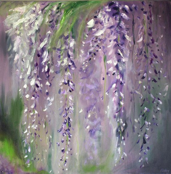 "Flowers Wisteria Oil Painting Abstract Art Original // ""Wisteria"" 20 x 20"" Canvas on Etsy, £180.00"