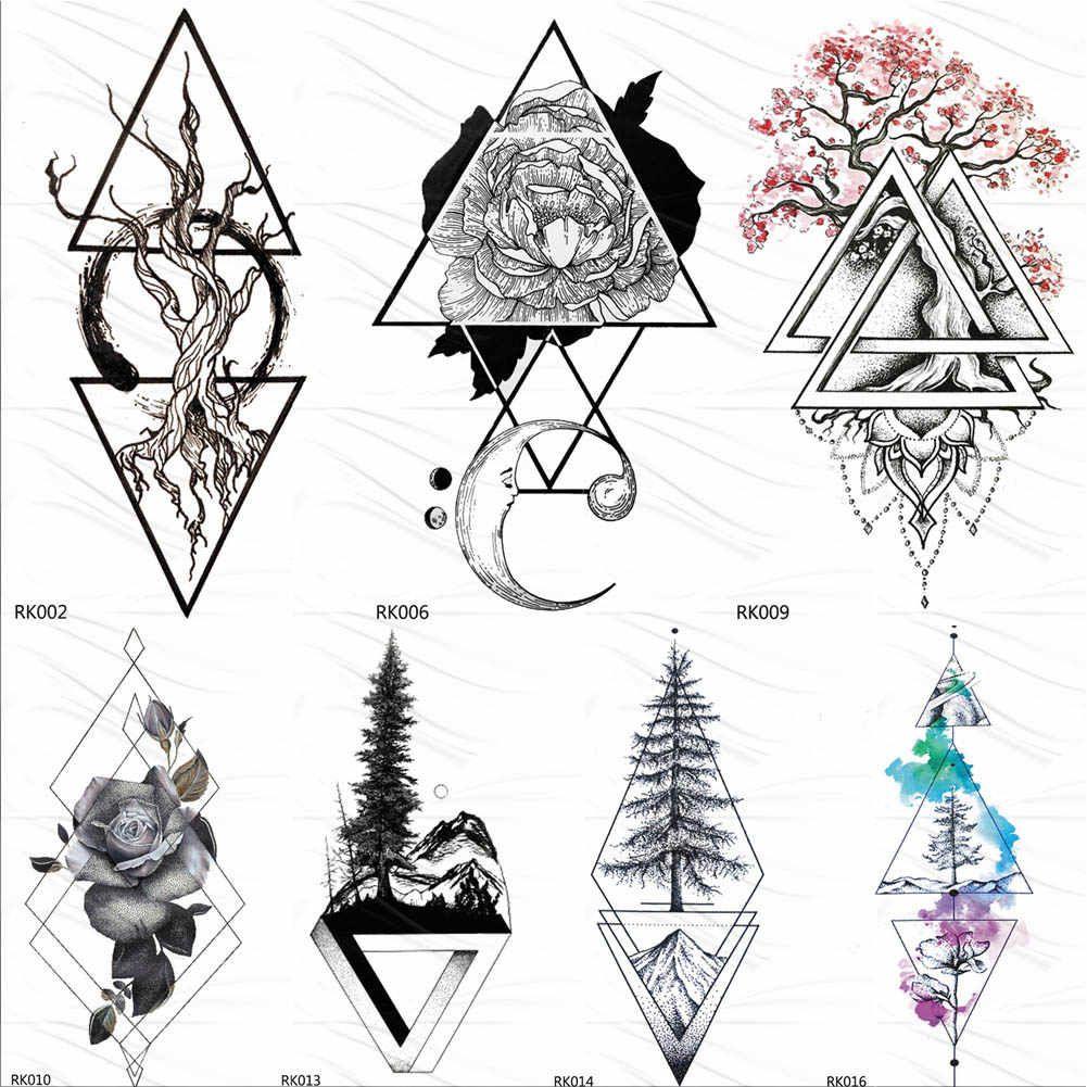 Black Realistic Geometric Rose Flower Triangle Temporary Tattoos Sticker Moon Tattoo Body Art Plum Blossom Fake Tatoos Jewel