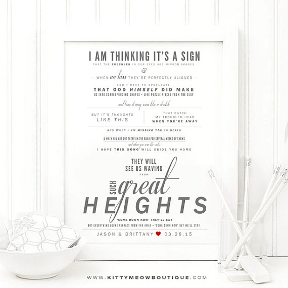 """Great Wedding Anniversary Gifts: """"Such Great Heights"""""""