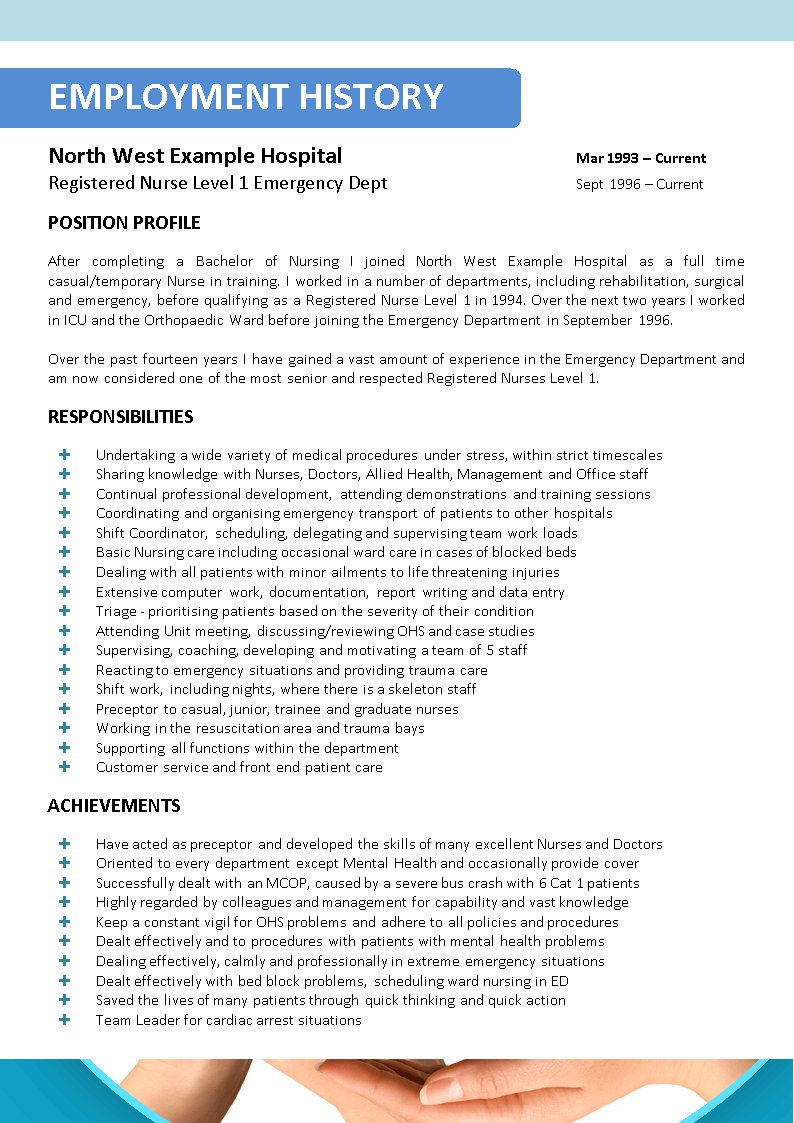 Examples Of Nursing Resumes Simple Nursing Resume With Lot Responsibilities And Achievements