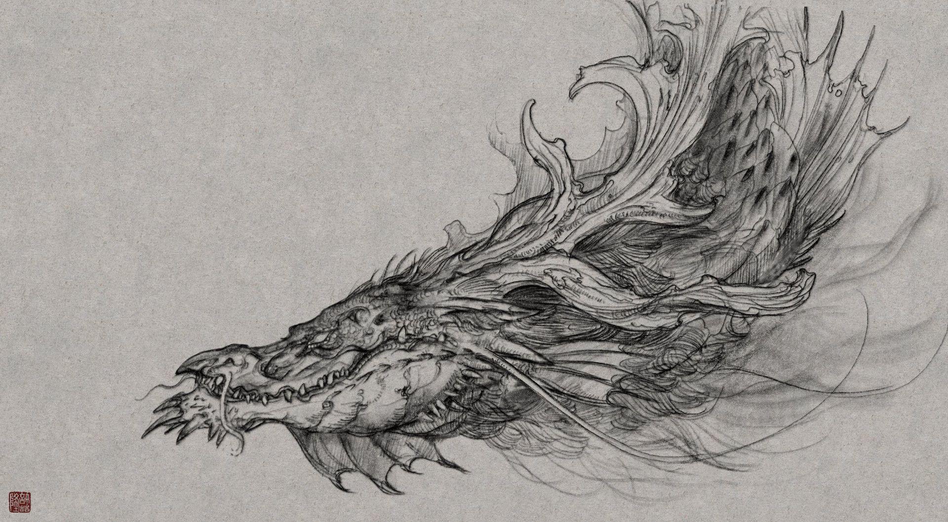 Китайский дракон карандаш картинки