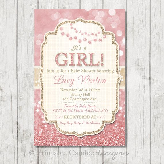pink and gold baby shower invitation pink gold baby shower girl