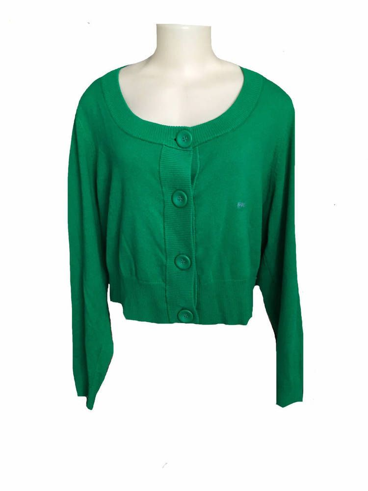 NWT Lane Bryant Plus Size Green Long Sleeve Cropped Cardigan ...
