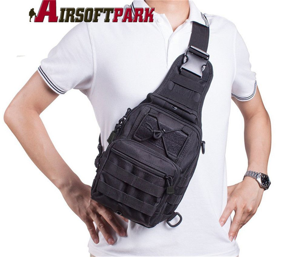 Military Tactical Chest Bag Pack Mens Outdoor Sports Nylon Crossbody Bag Pouch