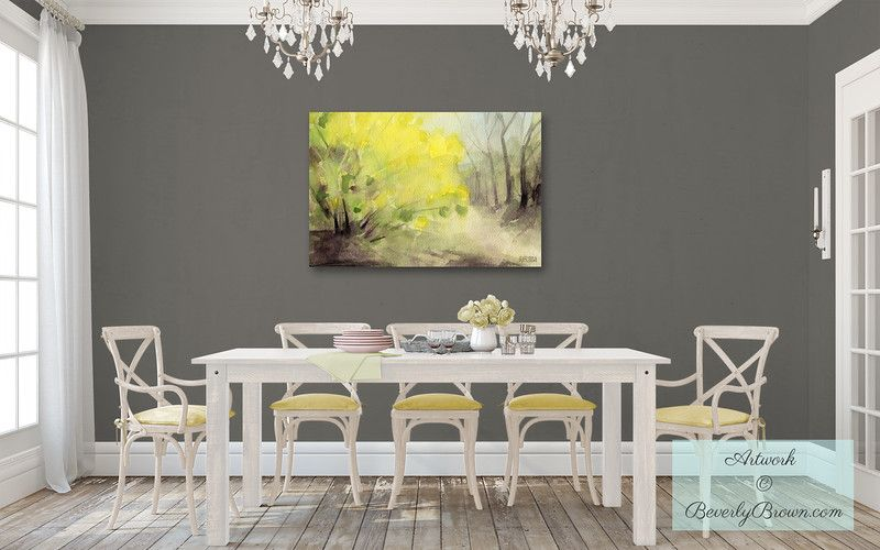 "Large Yellow And Grey Wall Art For A Gray Dining Room  ""forsythia Fascinating Grey And Yellow Dining Room Decorating Inspiration"