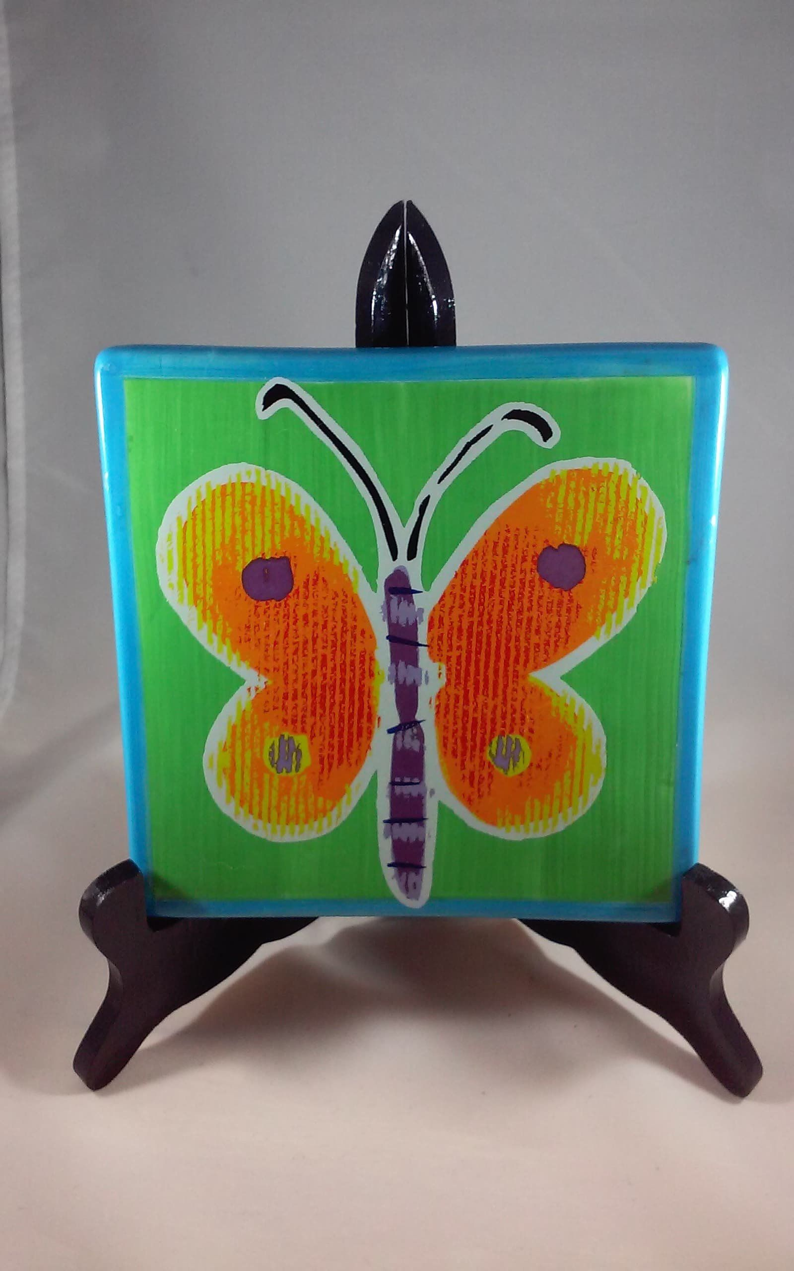 Butterfly Decorative Tile Ceramic Tile Butterfly Lover Gift Butterfly Ceramic Tile Unique Insect Gifts