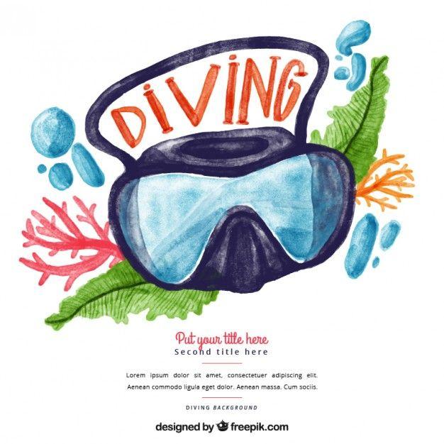 Aquarela óculos de mergulho fundo Vetor grátis
