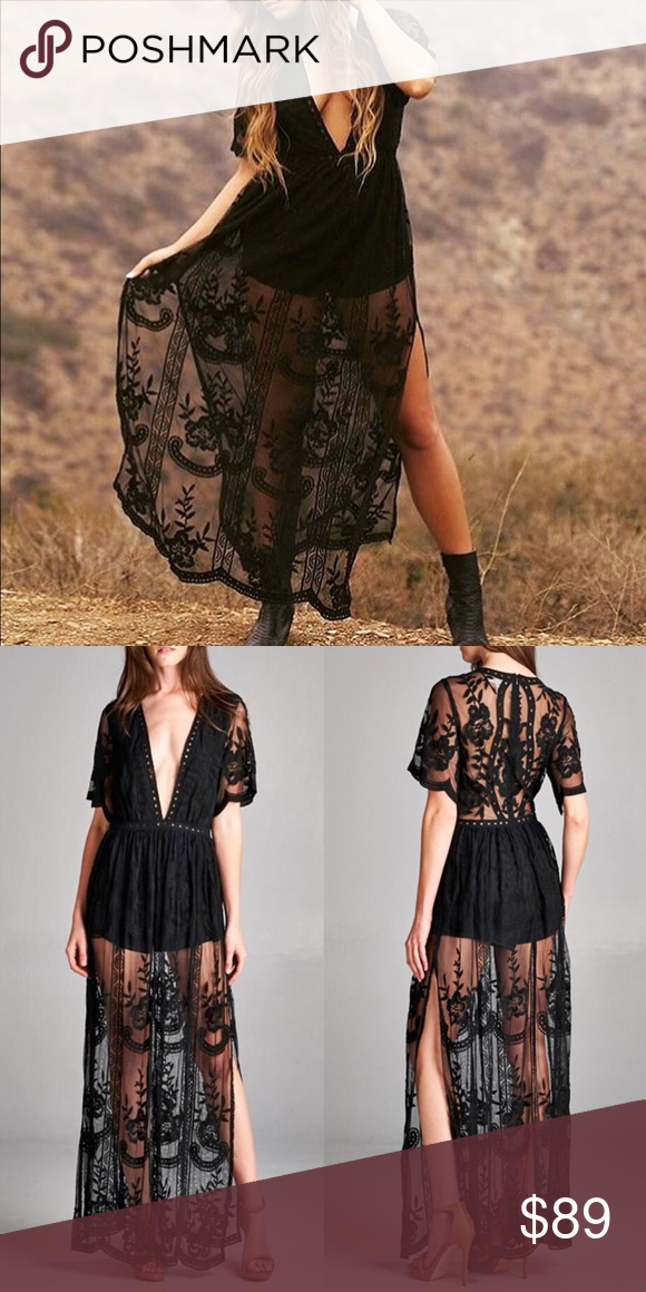 584e301e116 Black Lace Boho Romper Maxi Dress Lace overlay maxi dress with romper style  legs. Color is black. Has short sleeves   a deep v-neckline.