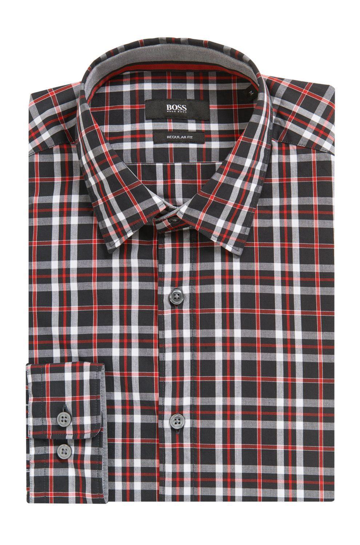 e4e0bae9 Boss Plaid Cotton Sport Shirt, Regular Fit | Lukas - Blue Xxl ...