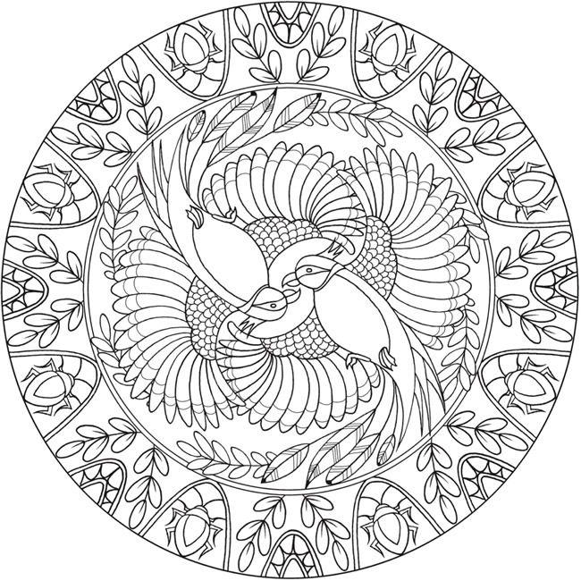 Coloring Page 3 of 6 BIRD MANDALAS by: Jo Taylor a