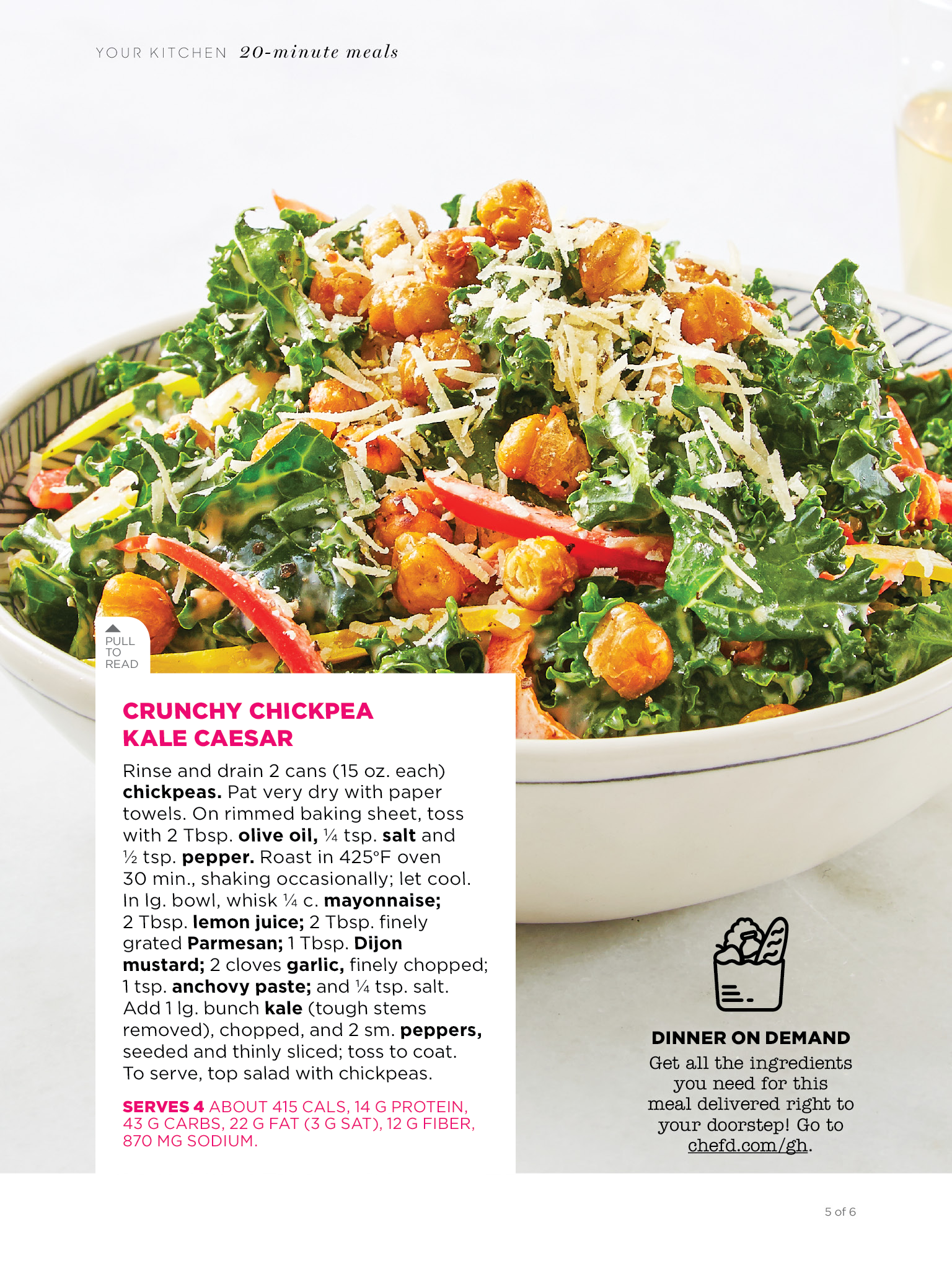 Crunchy Chickpea Kale Caesar Salad Recipe Great Healthy 20 Minute Recipe From Good Housekeeping Crunchy Chickpeas 20 Minute Recipes Stuffed Peppers