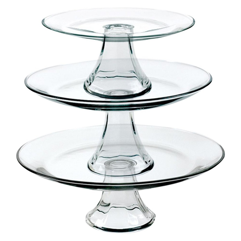 Anchor Hocking Tiered Pedestal Serving Plates Set Of 3 Clear Tiered Stand Tiered Serving Platters Glass Cakes