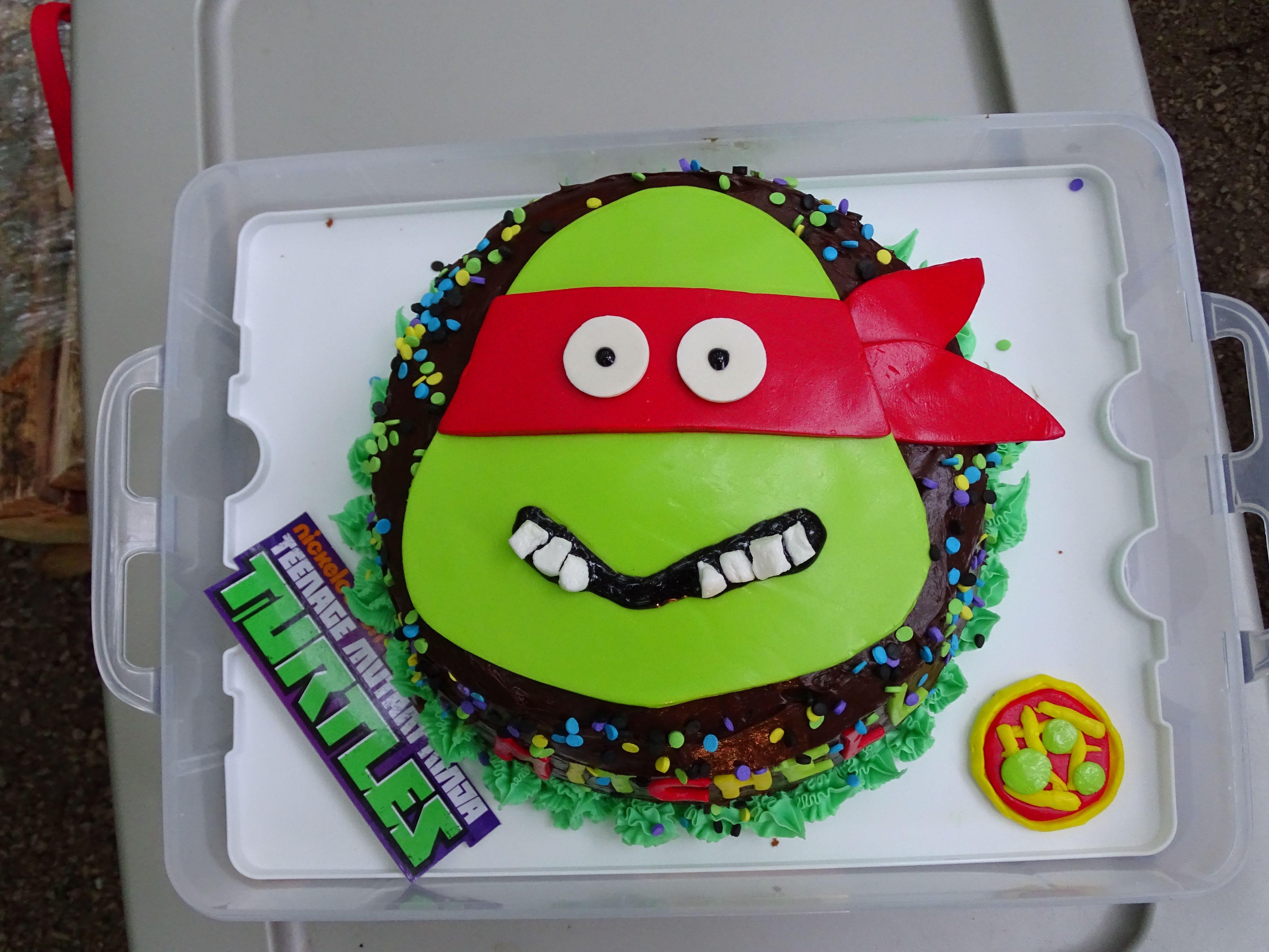Teenage Mutant Ninja Turtle Cake - fondant face