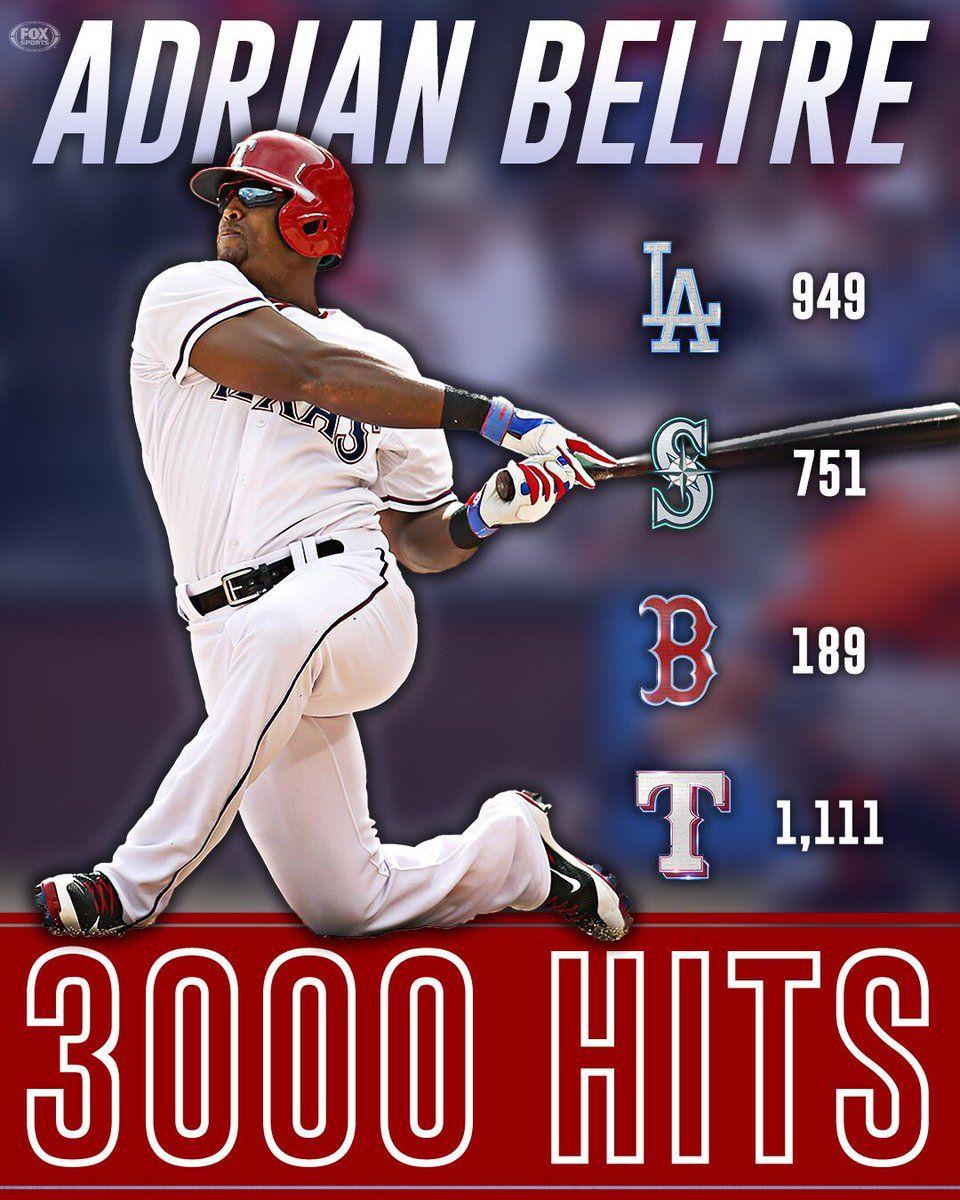 Adrian Beltre 3000 hits!!!!   Texas rangers baseball ...