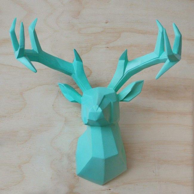 c4cf17e6b56c Geometric Resin Deer Head - Teal White Moose, Geometric Deer, Stag Head,  Resin