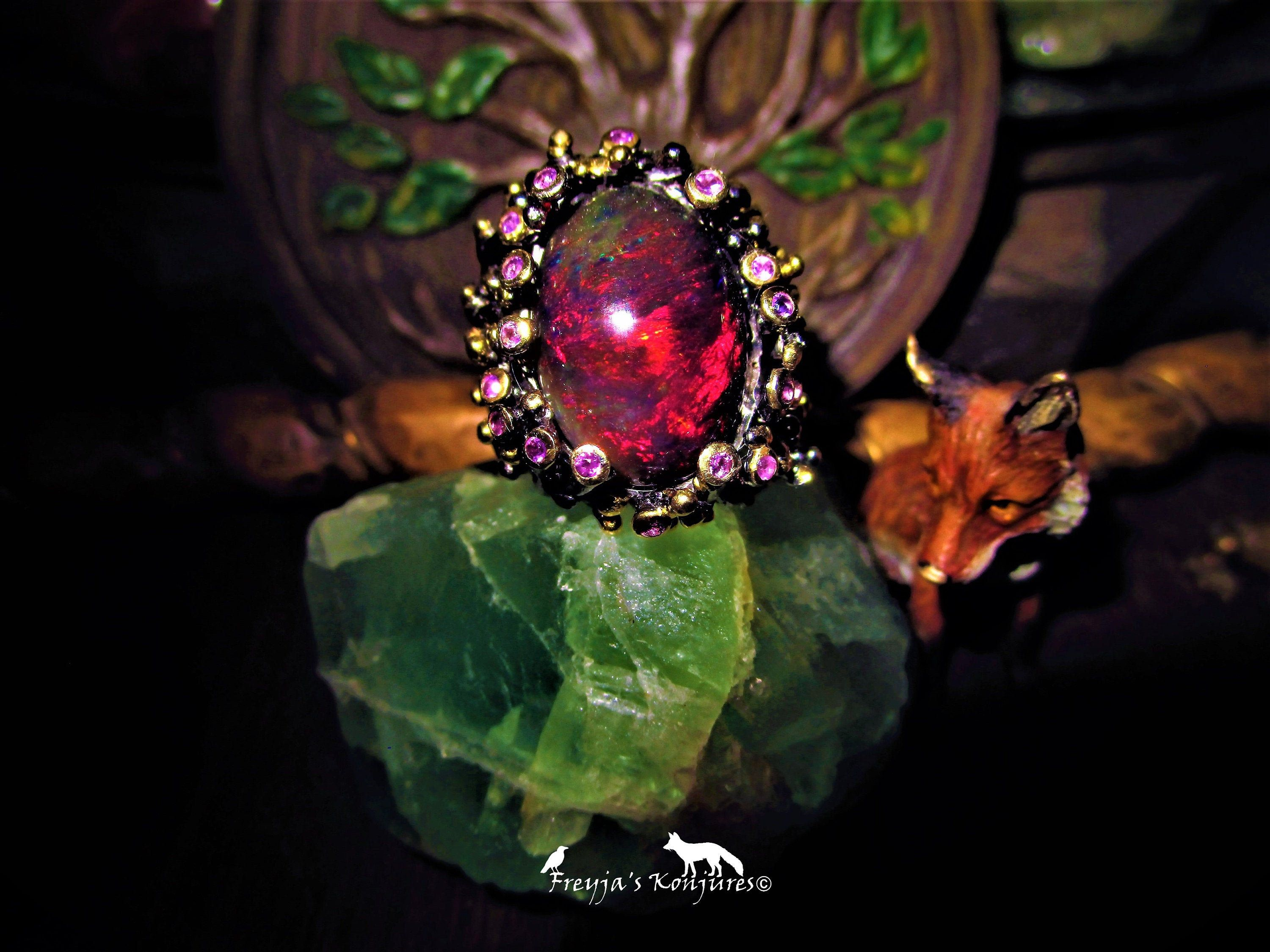 FLAME Red Australian Black Opal Floral Statement Ring with