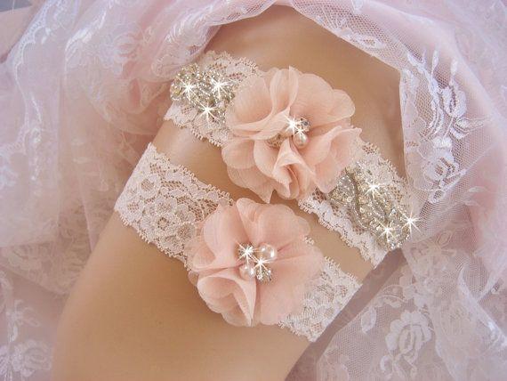 Wedding garter Bridal garter set Crystal  bridal garter Wedding blush lace garter set wedding gift