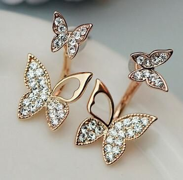 Lovely 18k Gold Plated Crystal Butterfly Earrings
