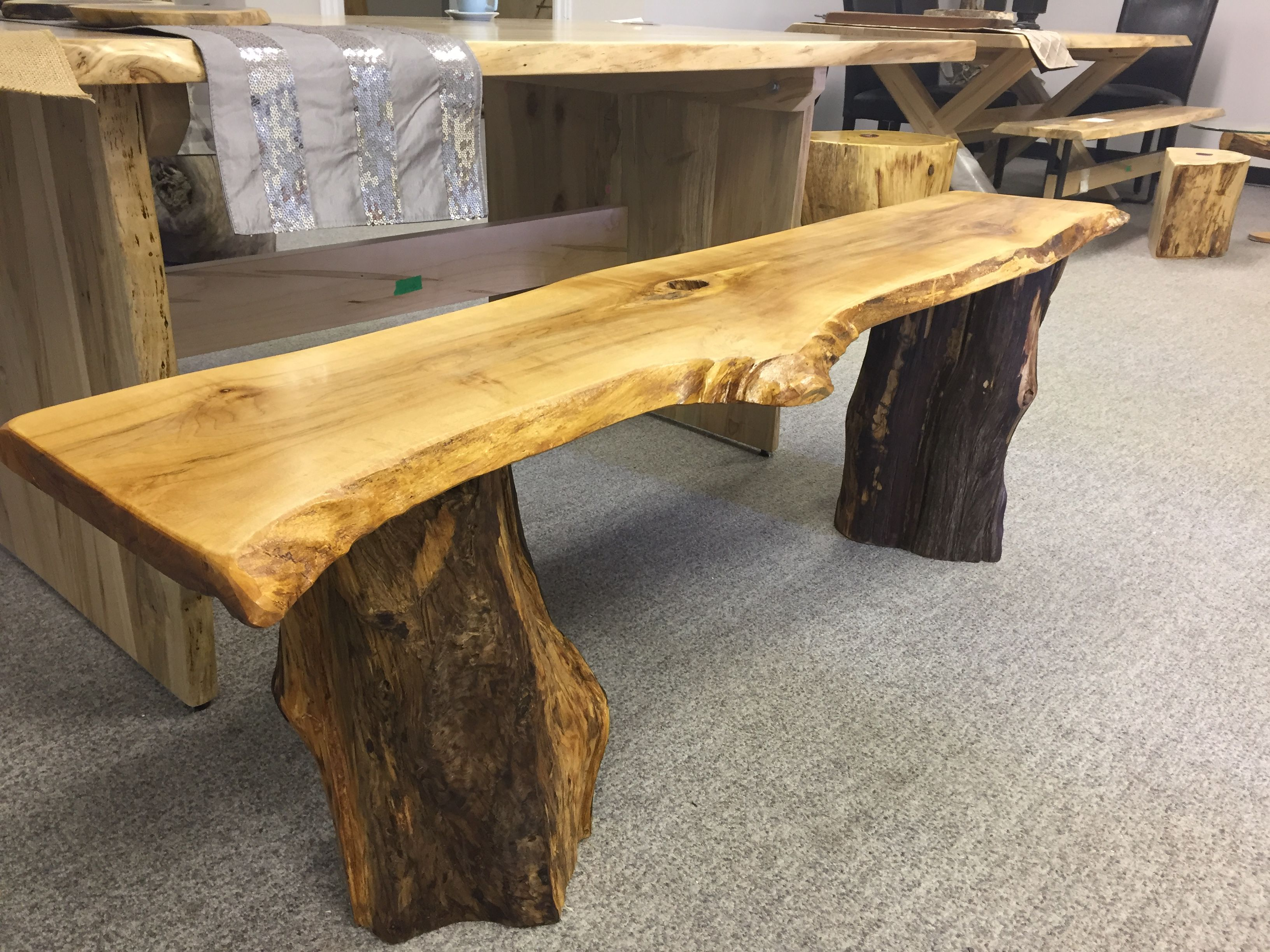 Marvelous Live Edge Bench With Rustic Legs Rustic Decor Stump Bench Ibusinesslaw Wood Chair Design Ideas Ibusinesslaworg
