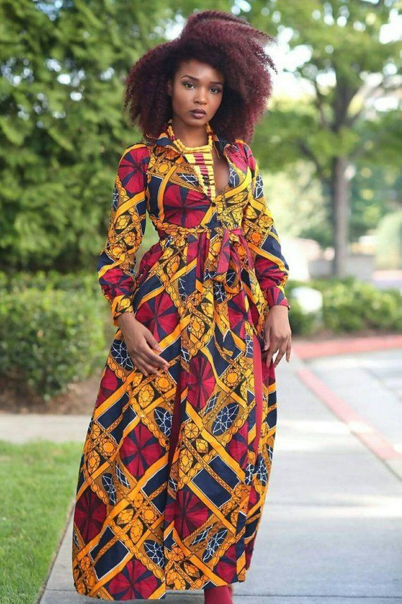 8f198ab16016 Double Slit Dress,African Clothing For Women,African Maxi Dress,African  Print Dress,Slit Dress,Chris