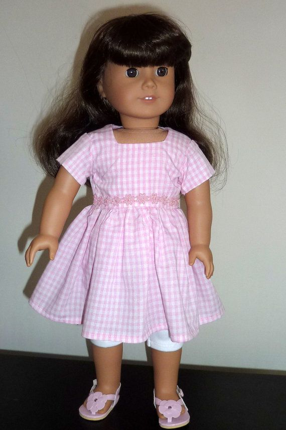 Pink Gingham dress and leggings for 18 inch dolls such as American Girl dolls.