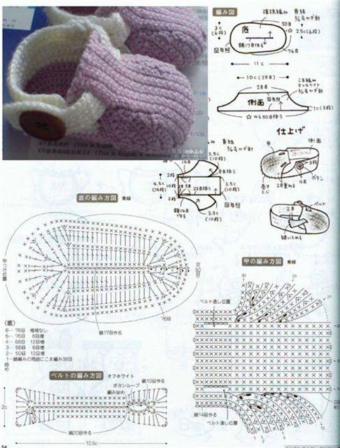 Patrón de botines | bebes | Pinterest | Patrones, Bebe y Crochet bebe