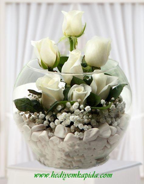 Balıkesir Çiçek Beyaz Gül Aranjman #dekoblumen