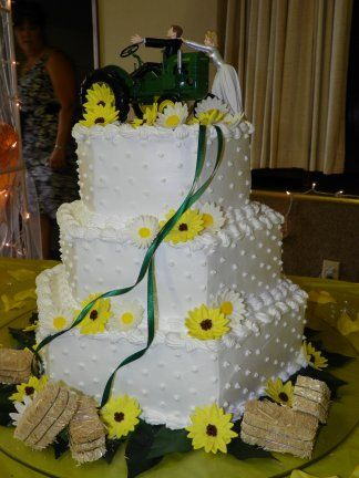 Sunflowers and haystacks. Don\'t for get the John Deere. 3 tier ...