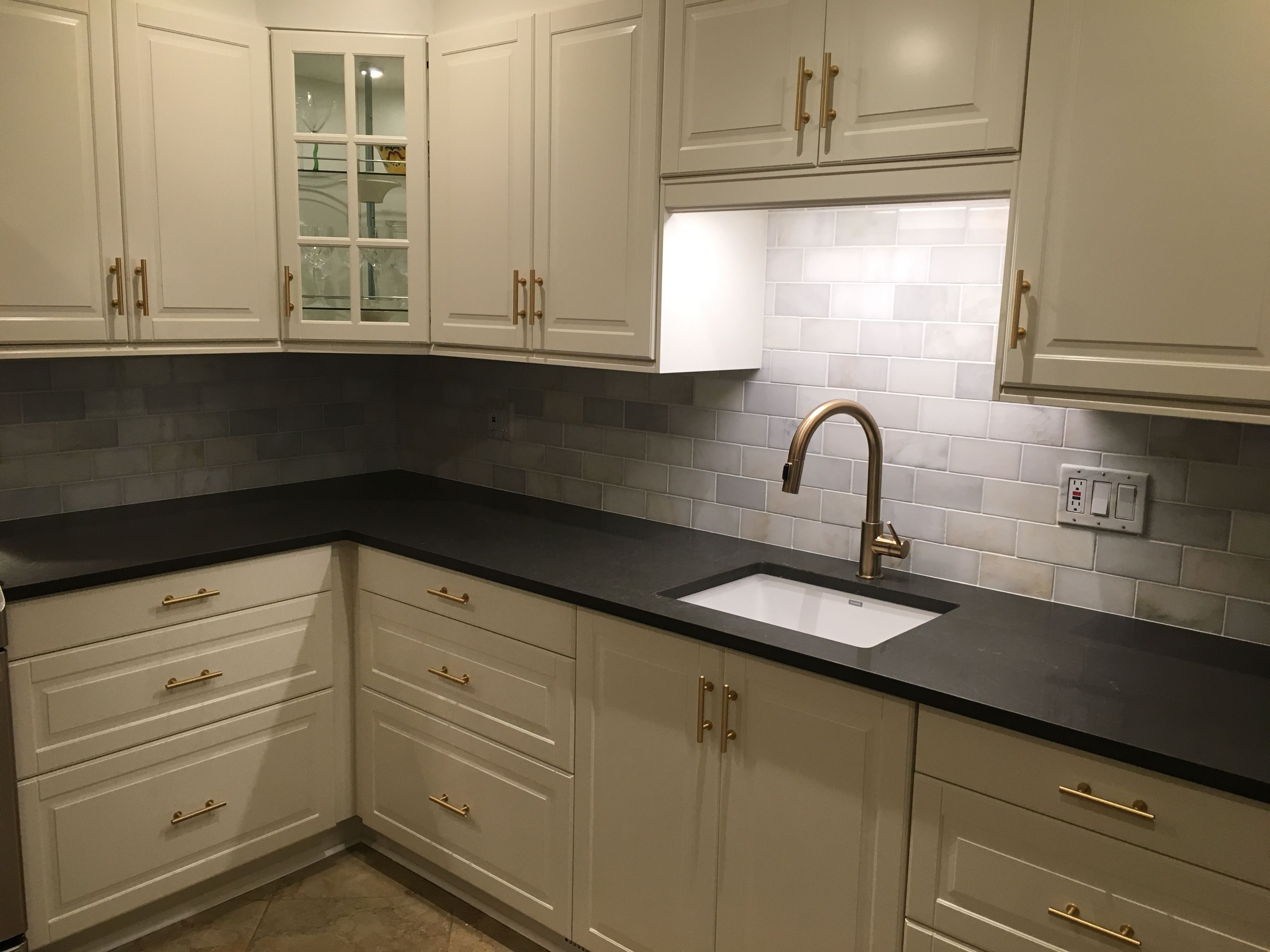 Ikea white Bodbyn with Piatra gray counter. Marble subway tile from ...